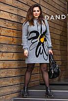 Сіре в'язане жіноче плаття з малюнком, оверсайз 46-56, фото 3