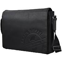 Сумка-портфель через плечо кожаная Braun Büffel Германия оригинал 36*26 см. черная 109054