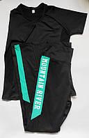 Женский спортивный костюм комплект двойка для фитнеса футболка + лосины Черный + мята, фото 1