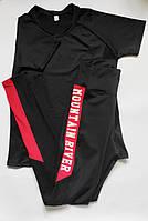 Женский спортивный костюм комплект двойка для фитнеса футболка + лосины Черный + красный, фото 1