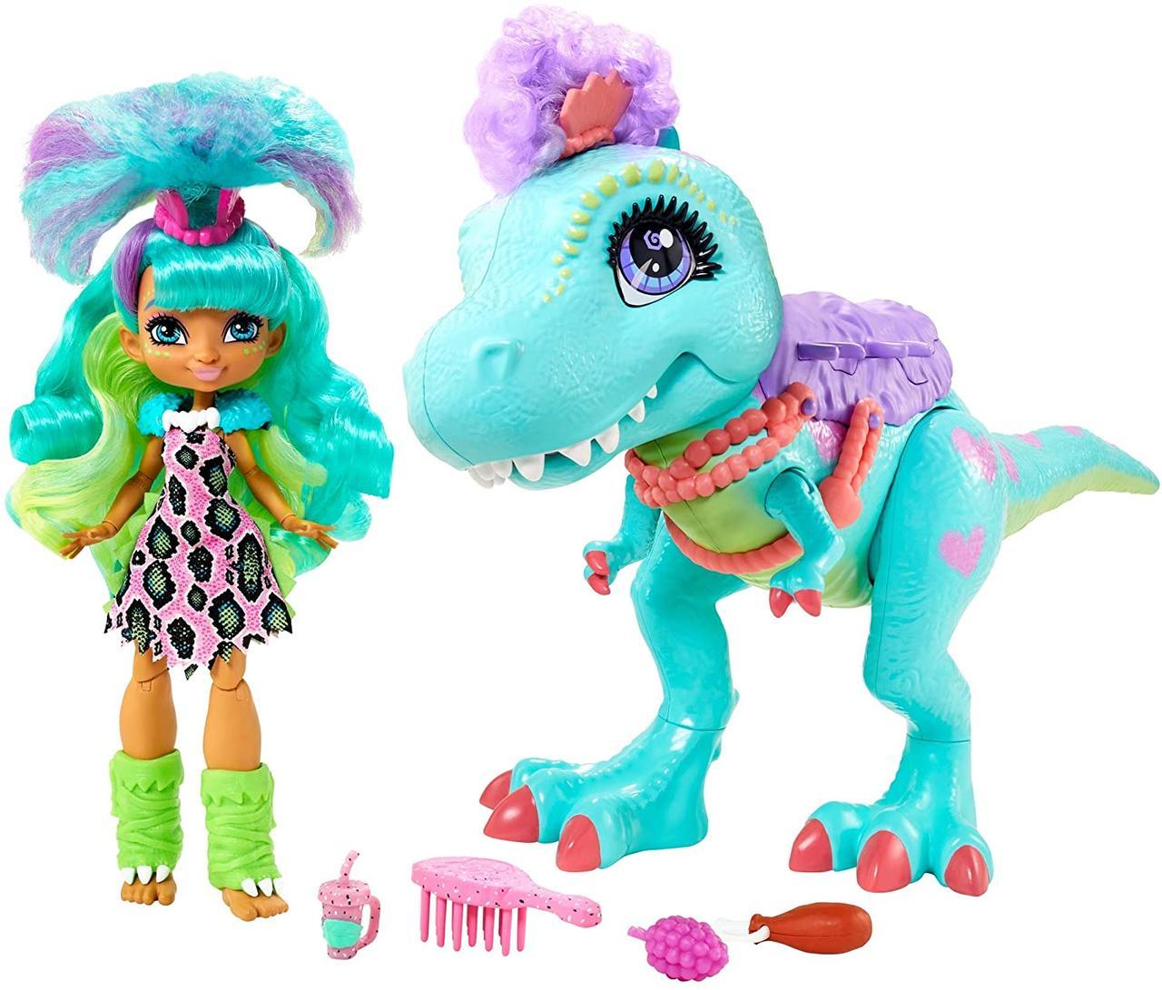 Набір лялька Рокелл і її друг Тирасавр Печерний Клуб Cave Club Rockelle GTL69
