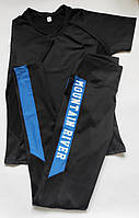 Женский спортивный костюм комплект двойка для фитнеса футболка + лосины Черный + синий, фото 1