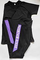 Женский спортивный костюм комплект двойка для фитнеса футболка + лосины Черный + фиолет