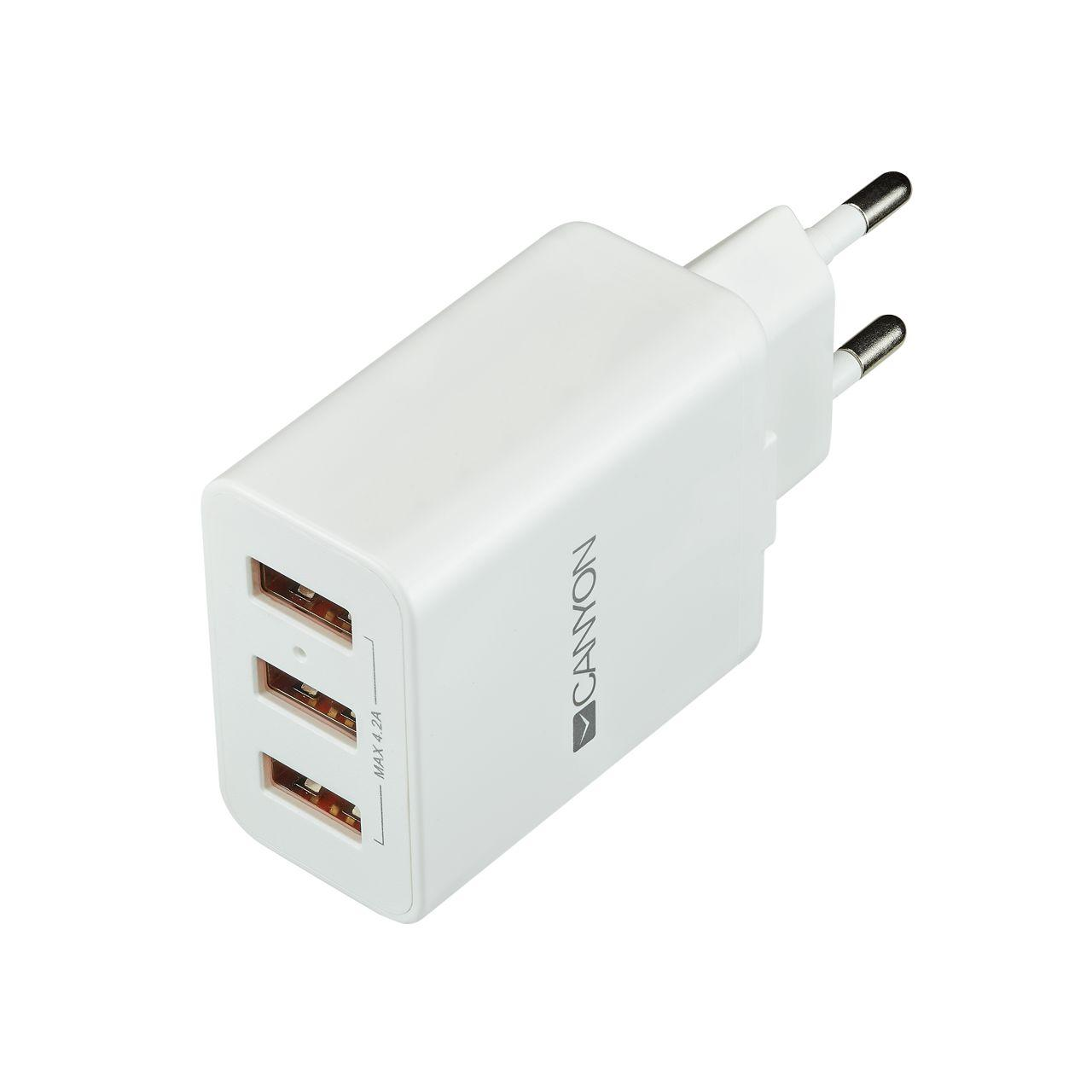 Мережевий зарядний пристрій Canyon (3USB, 4.2 A) White (CNE-CHA05W)