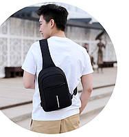 Городской мужской повседневный однолямочный рюкзак бананка City Bag c USB портом, остались черные