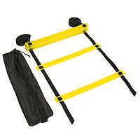 Координаційна сходи-доріжка для тренування швидкості футболістів Zelart 12 ступенів 6 м Жовтий (C-4606)