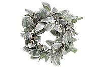 Новогодний венок из листьев в инее 758-231