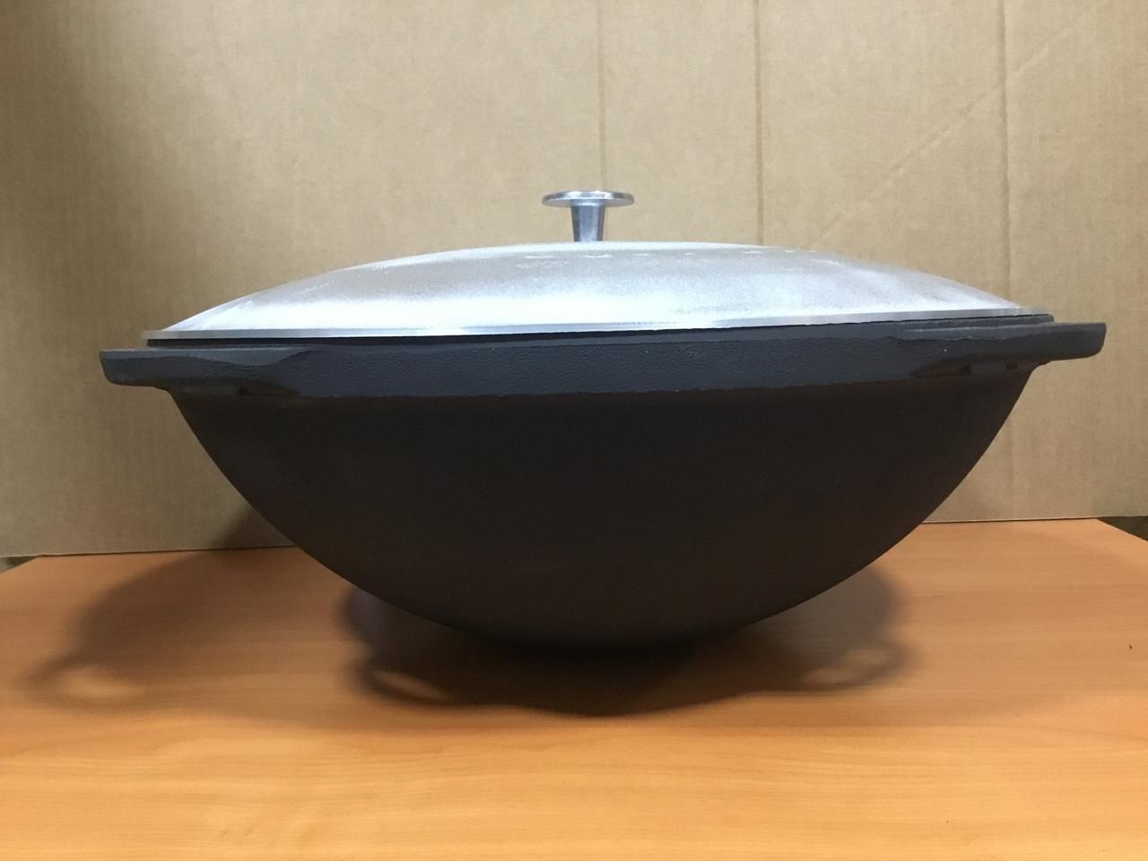 Казан чавунний 10л з алюмінієвою кришкою кришкою