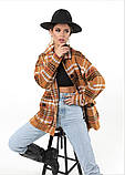 Женская рубашка в клетку с длинным рукавом байка+шерсть размер: 42-46,46-50, фото 2