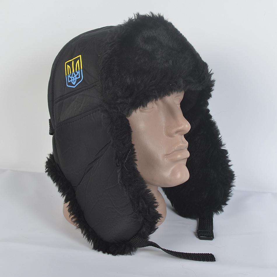 Чоловіча патріотична шапка- вушанка з штучного хутра мутона  606e14f228032
