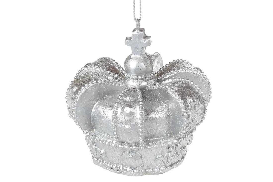 Подвесной декор Корона 6.5см, цвет - серебро, в упаковке 6шт. (707-707)