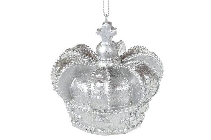 Подвесной декор Корона 6.5см, цвет - серебро, в упаковке 6шт. (707-707), фото 2