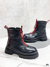 Женские ботинки ЗИМА/ зимние  черные с красным эко кожа