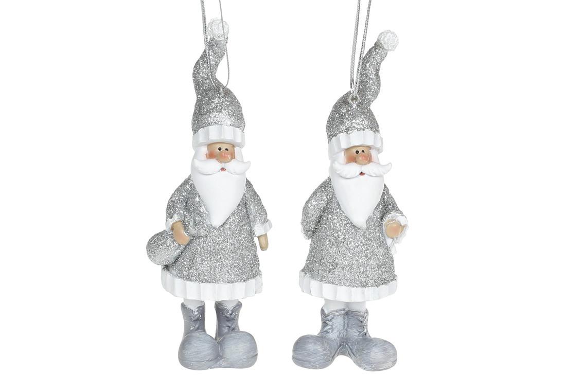Декоративная подвесная фигурка Санта, 13см, 2 вида, цвет - серебро, в упаковке 12шт. (823-183)
