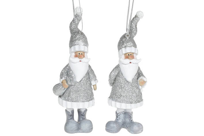 Декоративная подвесная фигурка Санта, 13см, 2 вида, цвет - серебро, в упаковке 12шт. (823-183), фото 2
