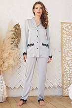Женская пижамная рубашка на длинный рукав серо-голубого цвета Долорес