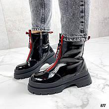 Только 36,38 р! Женские ботинки ЗИМА/ зимние черные с красным эко лак
