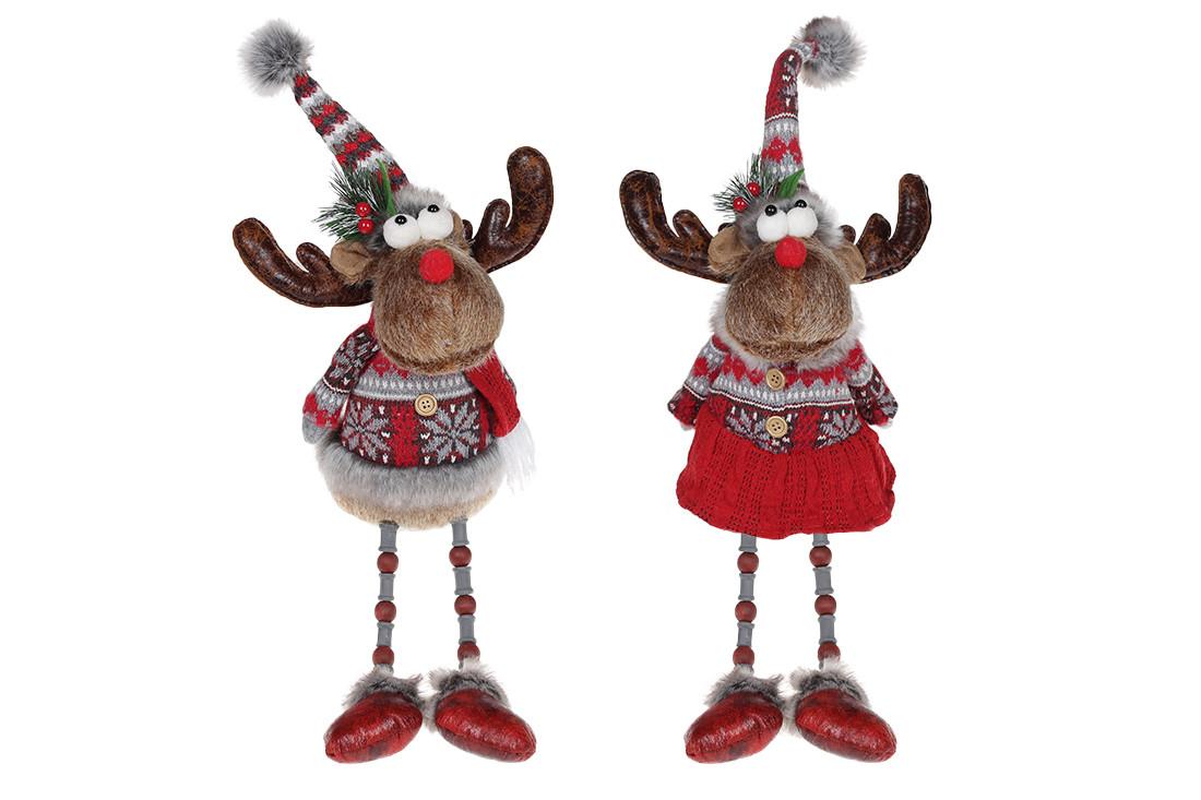 Мягкая новогодняя игрушка Олени, 56см, 2 вида, цвет - красный с серым (746996)