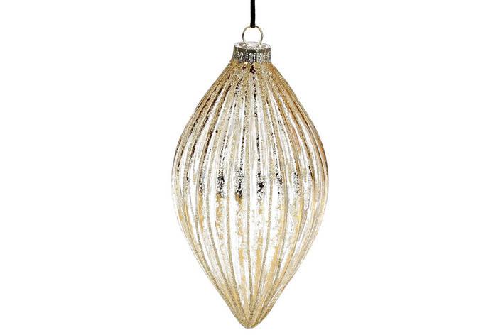 Елочное украшение из прозрачного стекла, 14см, цвет - золото, в упаковке 6шт. (NY15-081), фото 2