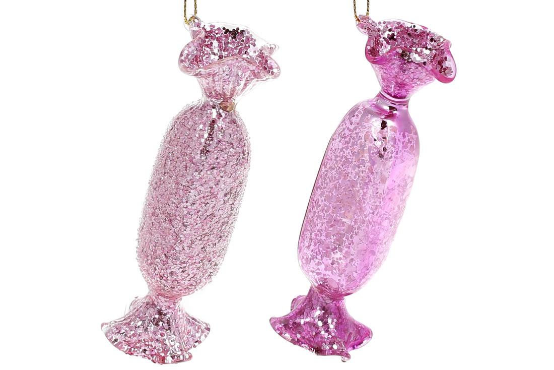 Елочное украшение Конфета, 12см, 2 вида покрытия - глянец и лёд, цвет - розовый, в упаковке 12шт. (NY15-092)
