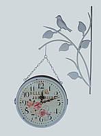 """Настенные уличные металлические кварцевые часы, в стиле вокзальных """" Цветы """"  белые (3118)"""