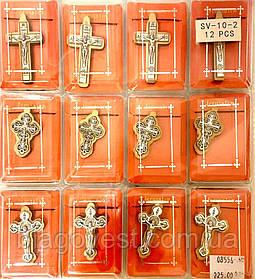 Крест нательный, деревянный, метал SV-10-2 (набор 12 шт.)