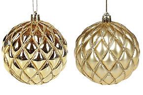 Елочный шар 8см с рельефом, цвет - золото глянец и матовый, 2 вида, пластик, 12шт. (898-130), фото 2