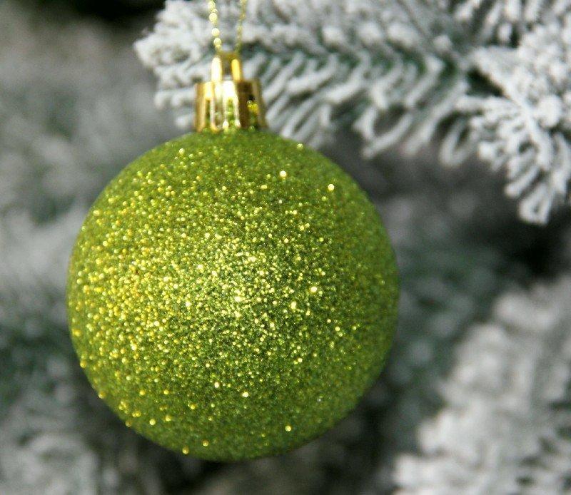 Куля новорічна зелена мікс D 8 см (80мм)