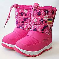 Детские дутики зимние теплые сапоги на зиму для девочки розовые Libang 29р 19см
