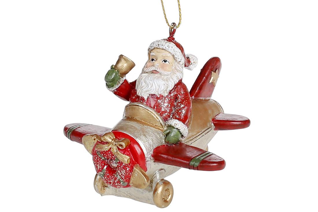 Декоративная подвесная фигурка Санта в самолете 7.5см, в упаковке 4шт. (707-735)