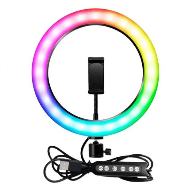 Селфи-кольцо 26 см RGB с мульти регулировкой света, управлением от USB и креплением под штатив и телефон