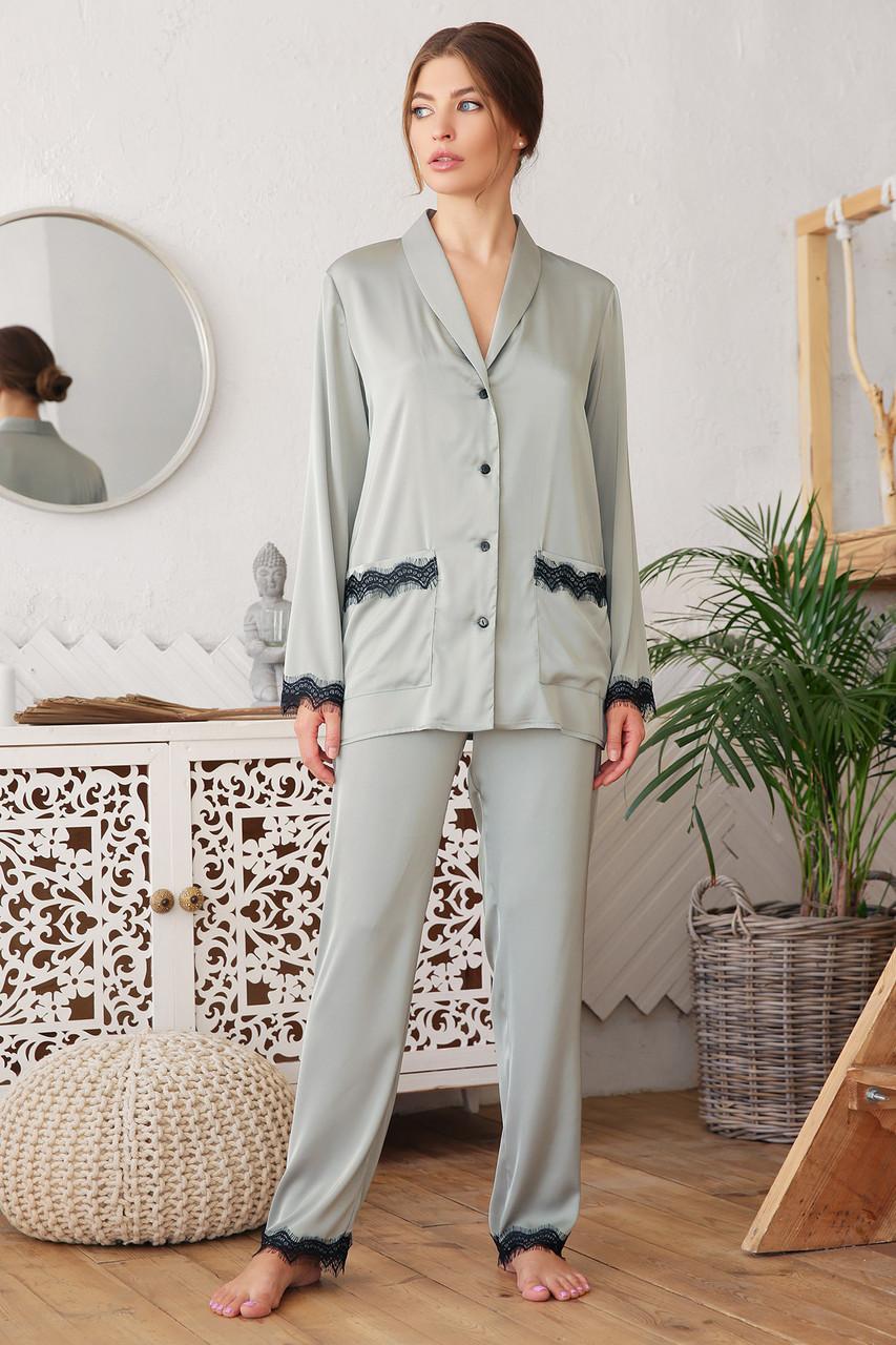 Женская пижама с рубашкой на длинный рукав и штанами с кружевом оливкового цвета Долорес