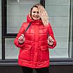Пуховики жіночі зимние  больших размеров 50-58 сиреневый, фото 6