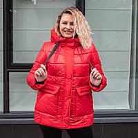 Женские зимние куртки больших размеров 50-58 красный