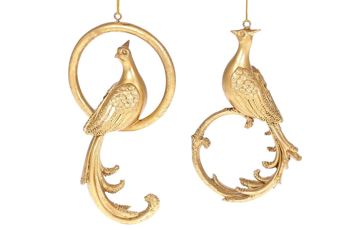 Декоративная подвесная фигурка Павлин, 17см, 2 вида, цвет - золото, в упаковке 2шт. (SG37-825)