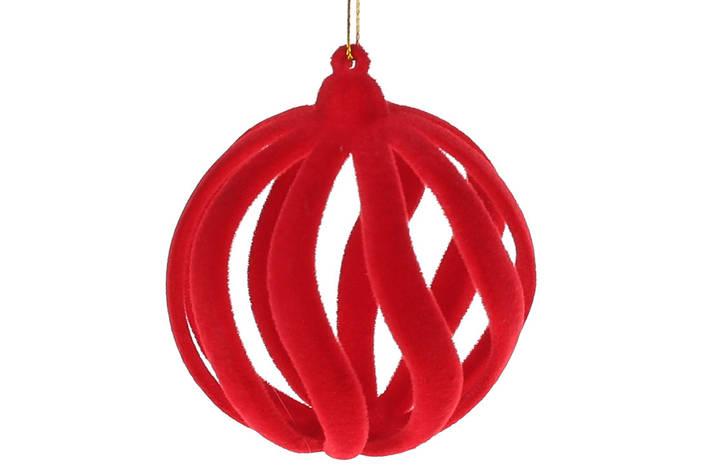 Елочный шар 7см, цвет - красный велюр, в упаковке 36шт. (113-533), фото 2
