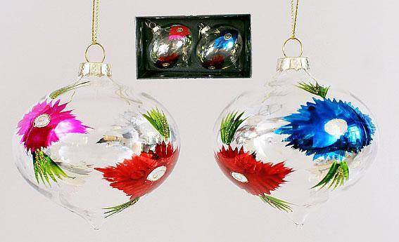 Набор елочных игрушек в форме луковицы (2 шт) 8см, стекло, в упаковке 12шт. (118-S10), фото 2