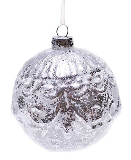 Елочный шар серебро с патиной 8см, стекло, в упаковке 6шт. (NY15-140)
