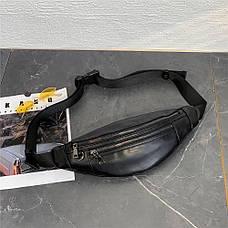 Сумка-бананка мужская две молнии кожзам поясная сумка - 223-04, фото 3