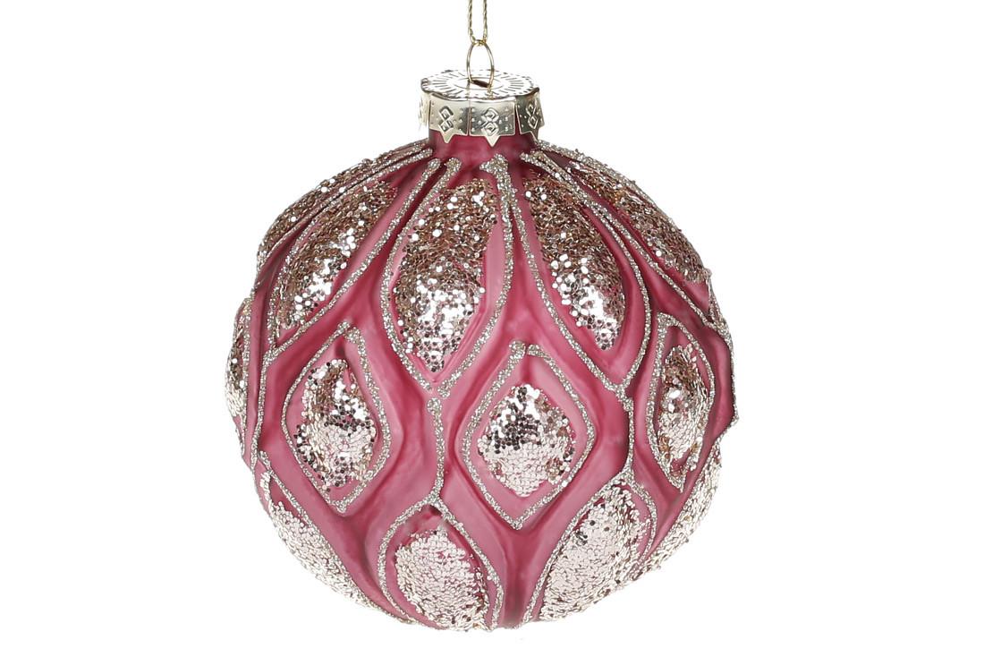 Елочный шар с рельефом и декором из глиттера, 10см, цвет - божоле, в упаковке 4шт. (118-072)