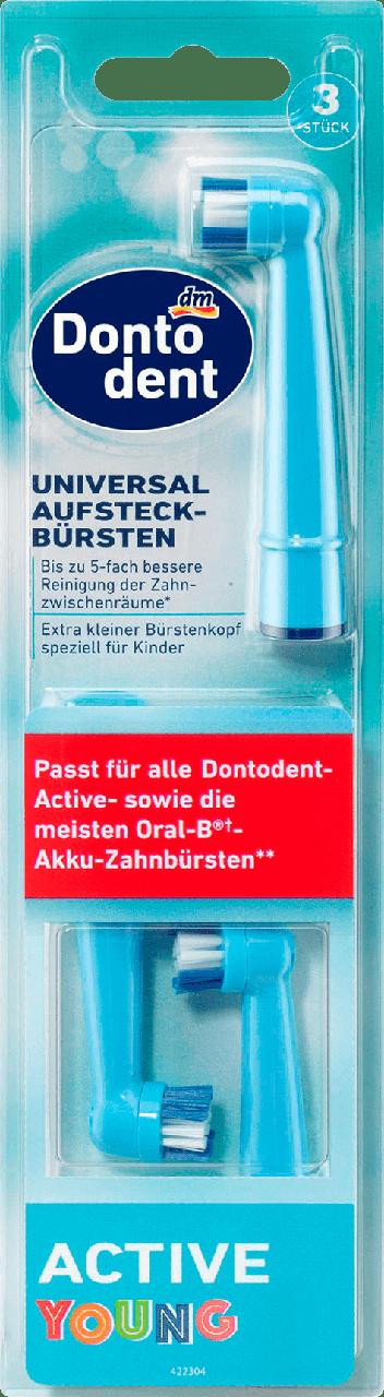 Сменные насадки для электрической зубной щетки Dontodent Active Young, 3 шт.