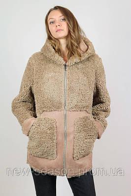 Женская куртка зимняя Queen's Wardrobe J10199 эко овчина коричневый