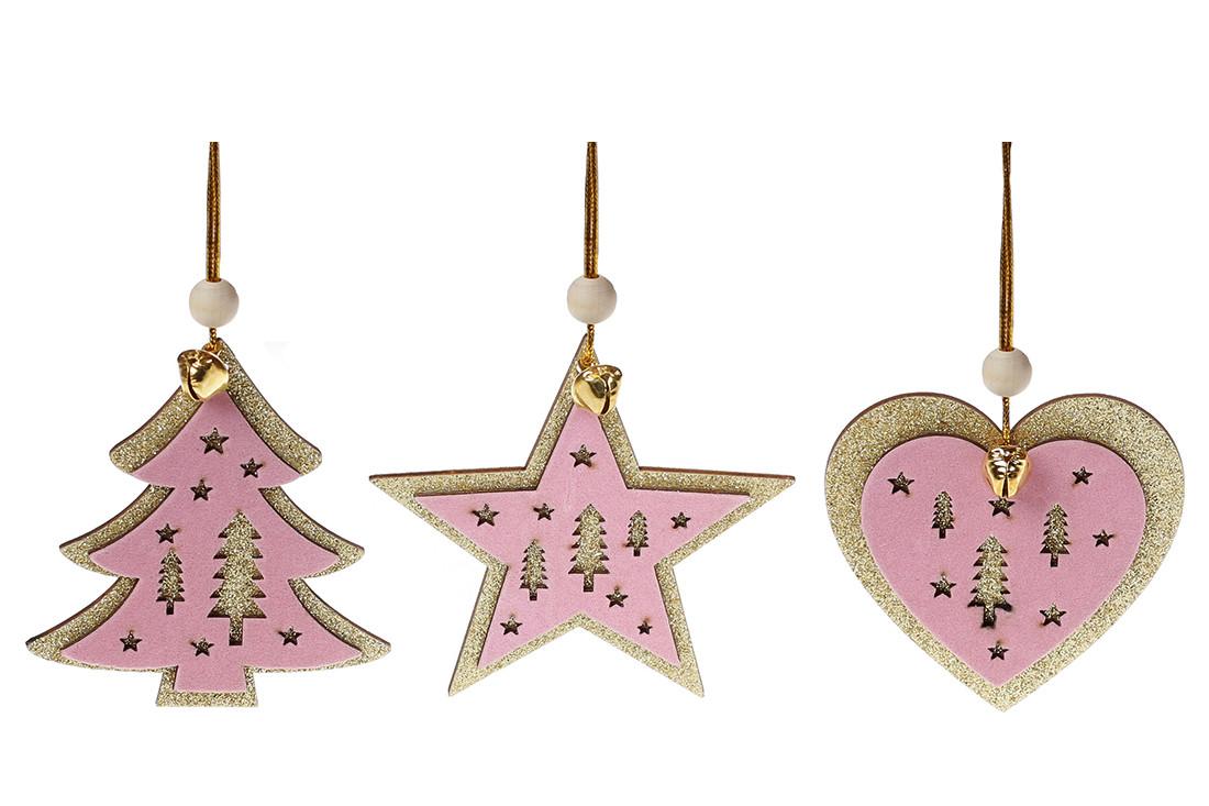 Новогодний подвесной декор с розовым бархатом 9см, 3 вида, в упаковке 96шт. (738-311)