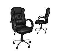 Компьютерное кресло офисное с эко кожи Malatec черное 8983