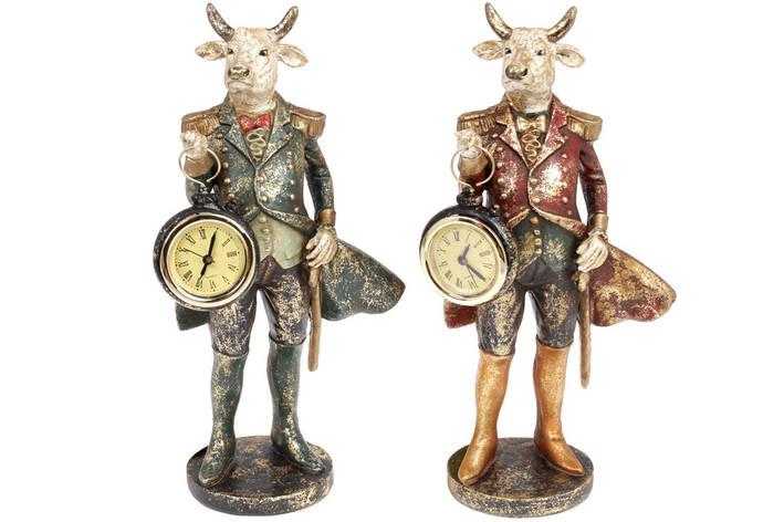 Декоративная статуэтка Бык с часами, 27см, 2 вида, цвет - синий с золотом и бордо с золотом (419-221), фото 2