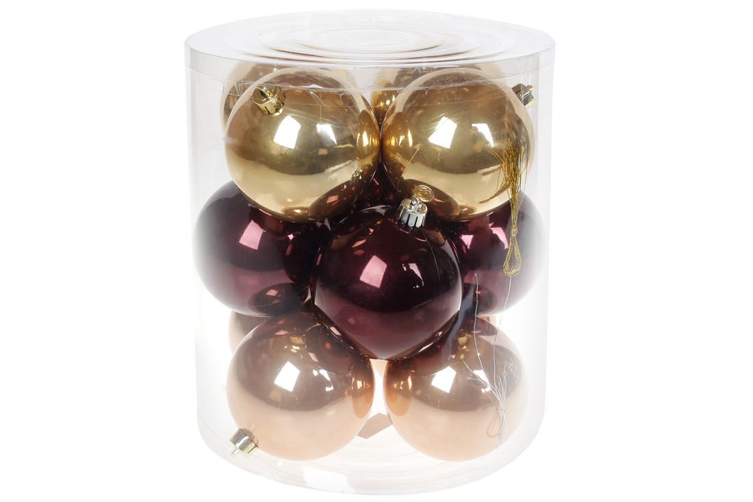 """Набор елочных шаров 8см, """"Капучино"""", 12шт: перламутр, по 4шт в каждом цвете (147-014)"""