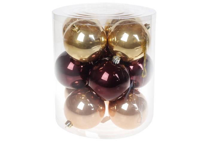 """Набор елочных шаров 8см, """"Капучино"""", 12шт: перламутр, по 4шт в каждом цвете (147-014), фото 2"""