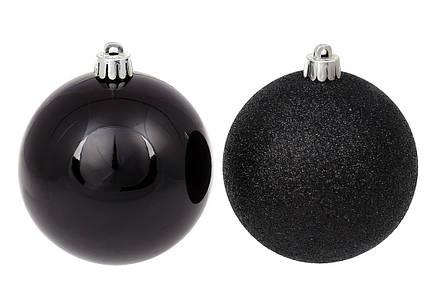 Набор елочных шаров 8см, цвет - чёрный оникс, 12шт: глиттер, глянец - по 6шт (147-153), фото 2