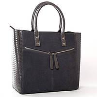 Женская кожаная сумка с замшевым фасадом 33*29*14см ALEX RAI (9-03 8713-11 grey)