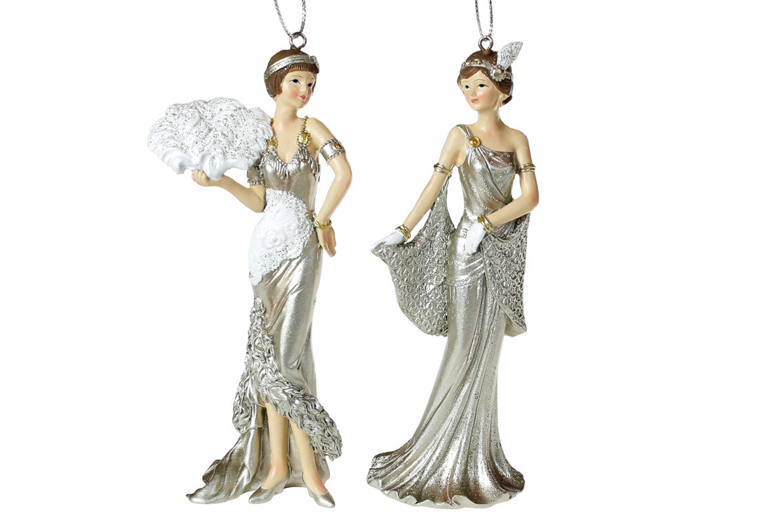 Декоративная подвесная фигурка Мадмуазель 15см, 2 вида, цвет - шампань, в упаковке 2шт. (707-470)